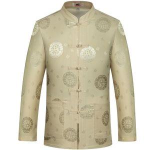 coat Plus Size 4XL Chinese Traditional Men's Mandarin Collar Full Dragon Tang Suit Clothing Long Sleeve Shirt Blouse Top
