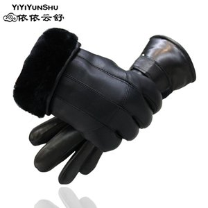 100% Genuine Leather Glove for Men Outdoor Thick Winter Warm Black Sheep Fur Wool Gloves Large Size Men's Soft Sheepskin Gloves 201019