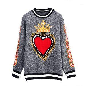 Runway Designer Gray Heart Crown Print Women Sweater Pullovers Harajuku Street 2020 Winter Christmas Sweater Jumper Clothing1