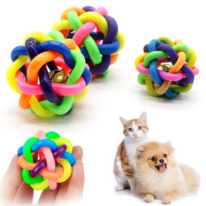 Dog Cat Toy With Small Bell Rainbow Molars Rubber Ball Play For Dogs Teeth Training Pet Puppy Toys Dog Ball Toys Pet Supplies