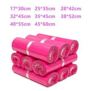100Pcs lot Pink New Plastic Poly Self-seal Self Adhesive Express Shipping Bag White Courier Mailing Envelope Courier Post Postal Mailer Bags
