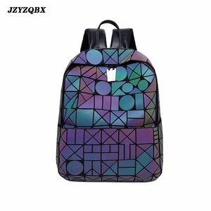 Jzyzqbx Paquete de espalda luminosa Color sólido Exquisito Empreso de agua Gradiente Bolsa de viaje Personalidad geométrica Rhombus Back Packs