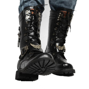 Fashion Motorcycle Cool Skull Combat Army Punk Goth Biker Boots Leather Men Shoes High Top Casual Boot 201127