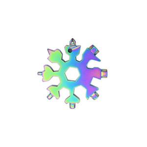 Personnaliser 18 en 1 flocon de neige Clé multifonction Keyring EDC outil portable Trousseau en acier inoxydable Tournevis décapsuleurs HWD2895