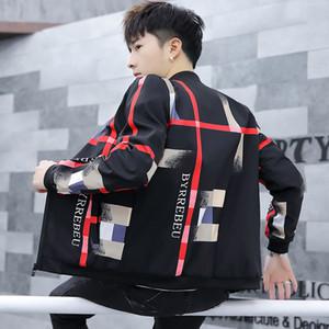 Новый стиль молодая куртка мужская воротник плед корейская версия самосовершенствования Chunqiu мужская куртка