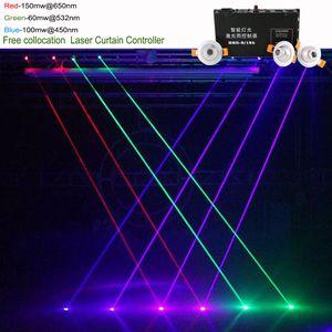 Collocation gratuite Vert Vert Blue Beam Line Ligne Laser Rideau Contrôleur 8 canaux DMX DJ Partie Afficher l'effet d'éclairage de l'étape de fond