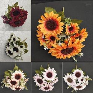 Dekoratif Çiçekler Çelenk Ayçiçeği Yapay Çiçek Avrupa Tarzı Büyük Bunch Sahte Buket Yeşil Bitki Kaktüs Bahçe Ev Dekorasyon1