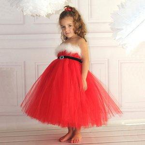 Niñas Vestidos de Navidad Bebé Lace Red Elegante Off Hombro Lettle Girl Christams Vestido DHL Envío Gratis