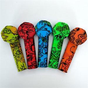 스테인레스 스틸 그릇과 뜨거운 다채로운 낙서 실리콘 파이프 흡연 담배 봉지 실리콘 핸드 파이프 연기 무료 배송