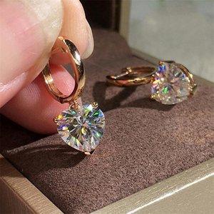 Nuovo Arrivo Sweet Sweet Carino Simple Fashion Fashion Jewelry Pera Cut Bianco Cancella 5a Cubic Zircone Partito 925 Silverrose Gold Donne Clip Earring Polsino regalo