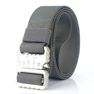 Fashion Men Tactical Belt Nylon Waist belt Heavy Duty Metal Buckle Adjustable Military Army men Belts outdoor Quick Release Jeans strap 32