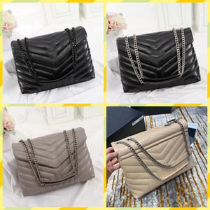 럭셔리 디자이너 핸드백 모양의 퀼트 진짜 가죽 여성 가방 체인 어깨 가방 고품질 대용량 봉투 새로운 Loulou 가방