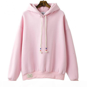 2018 New Autumn Winter Korea Solid Color Plus Velvet Sweatshirt Female Long-sleeved Candy Color Loose Student Hoodie Sweatshirt