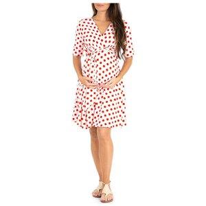OKLADY 2019 Verão Gestantes Boho Vestidos Maternidade Roupa Mama Casual Polka Dot Bodycon Vestido Gravidez Streetwear L XL C1008