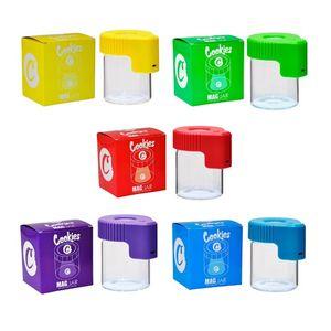 Jar Куки LED хранения Увеличительное Шкатулка Контейнер 155ml Mag Jar Светящиеся Контейнер Вакуумные бутылки для сухой травы табака Gummies Edibles