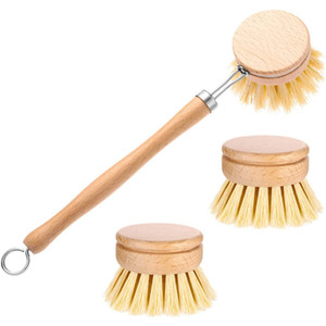 Natural Wooden Long Handle Pan Pot Brush Cleaning Brush Washing Bowl Brush Household Kitchen Cleaning Tools T9I001112