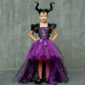 Halloween Maleficent Evil Dark Queen Costume Dress With Horn Baby Cosplay Outfits Girls Party TUTU Dresses Fancy Ball Gown Robe