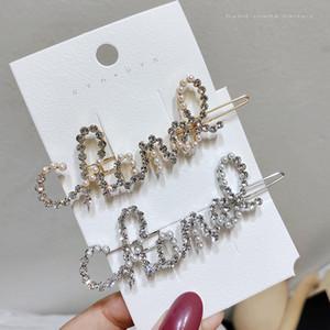 Frauen Perle Strass Buchstaben Haarspange Bling Brief Barrettes Mode Haarschmuck Für Geschenk Party Haarnadel