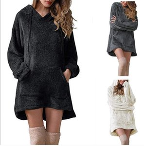 Solid Hooded Plus Dress For Women Long Sleeve Front Pocket Designer Hoodies Dress Casual Autumn Winter Warm Slip Dress