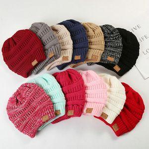 CC-cavalo Beanie Chapéus 14 cores Mulheres Crochet Cap Knit Inverno Skullies Gorros quentes Caps Feminino malha moda Chapéus Big Crianças Hat