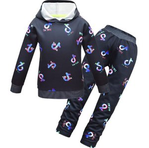 Tik Tok Set For Big Boy Girl Tracksuit Clothes Autumn Winter Tiktok Kid Hooded print Sweatshirt+Pant 2PC Sport Suit 12 Year