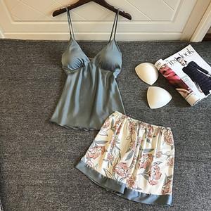 QWEEK Silk Pajamas for Women Floral Womens Pajama Set Summer Pyjamas Women Satin Sleepwear V-Neck Pijama Mujer 2 Piece Sets Y200425