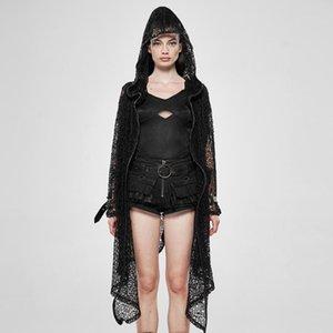 PUNK RAVE Kadın The Night Canyue Net Coat Parlak Örme Gevşek Kapşonlu İnce Kişilik Uzun Ceket
