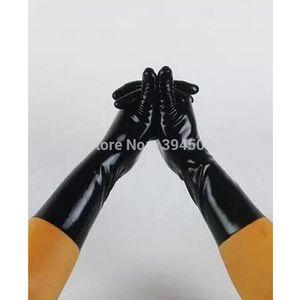 neu Verkauf Hot Sexy männliche Latex Normallack Handschuhe kurz Frauen Zentai Sexy Fetisch rot weißen Handschuhe XS-XXL Freies Verschiffen 201020