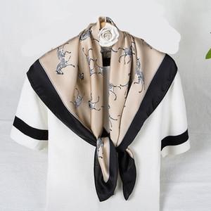 Female Silk Square Scarves For Women Neck Wraps Hair Band Elegant Horse Print Headband Foulard Lady Handkerchief Scarf