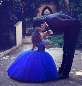 Royal Blue Princess Cinderella Flower Girl Dresses Off-the-shoulder Floor Length Ball Gown Blue Kids Pageant Gowns Newest Design Tutu Skirt