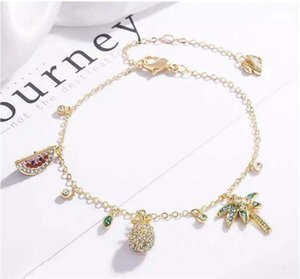 Luxury Summer Hollow Pineapple Anklet Bracelet Cute Fruit Pendant Charm Bracelets Ankle Chains For Women Beach Holidays Jewelry