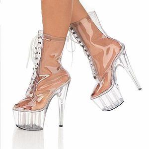 Ankle Boots Platform Women Shoes 15cm High Heels Fashion Transparent PVC Clear Heels Boots Fenty Beauty Ladies Shoes Big Size 46