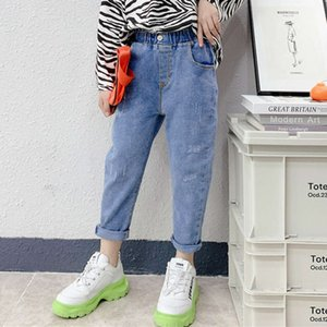 2021 spring new with foreign style flower bud high waist girls' washed jeans medium and large children's trousers