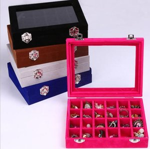 Earrings Storage Case 24 Section Boxes Velvet Glass Jewelry Ring Display Organizer Box Tray Holder