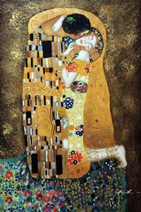 Tuval Wall Art Pictures 201.015 üzerinde öpücük Klimt Klasik Ünlü Büyük Tablolar Ev Dekorasyonu Handpainted HD Baskı Yağlı Boya