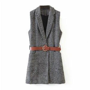KUMSVAG 2020 Automne Femmes Plaid Jackets Manteaux manches ceinture poches GILET précarisés tricot veste d'extérieur