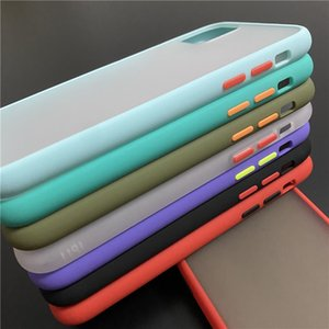 50PCS Free DHL Matte Contrast Color Phone Case 10 Colors For iPhone 11 PRO X XR Clear Hard Case For iPhone 8 Plus