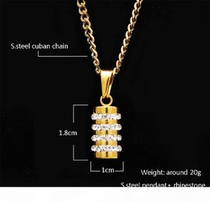 F Men Women 18k Gold Plated Stainless Steel Diamond Soild Cylindrical Pendant Necklace 24 &Quot ;Inch Cuban Chain