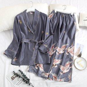 New Ice Silk Women Pajamas 2 Pieces Fashion Winter Pajamas Set Casual Print Sleepwear Women's Home Clothes Long Sleeve Pyjamas 201009