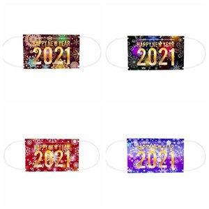 Взрослые лица Маски 3 Layered Одноразовые маски Happy New Year Печать Mouth Обложка пыле дышащий Защитная маска одноразовая маска FWC3439