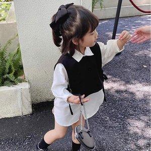 Clothing Sets Toddler Kids Clothes Autumn Girls Elegant Small Vest + Long Shirt Dress 2-Piece Children'S
