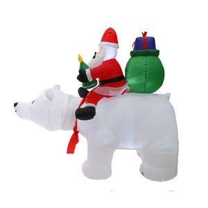 Рождество Санта Hotselling Claus Snowman надувной костюм Рождественская вечеринка костюм одежда надувной Санта-Клаус с медведью интерьер EWB2405