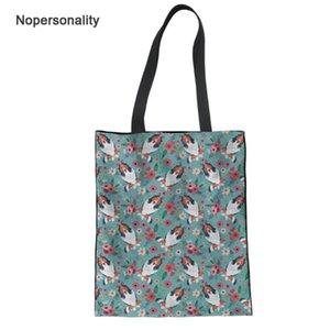 Nopersonality Pretty Floral Collie Print Travel Shoulder Bag Portable Female Ladies Canvas Handbags Durable Women Tote Handbags