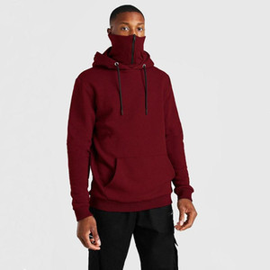 Fitness Winter Hot Sweatshirt Men's Mask Velvet Clothing Hoodie Zipper Solid Color 2020 Jogger Sale Men Hoodies Masked Plus Kcslv