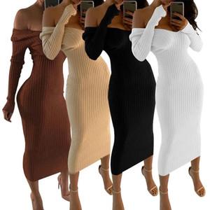 Vestidos de las mujeres del otoño suéter de punto elástico ajustado de Femme Robe largo de la manga del hombro Sexy Negro Blanco Mediodía vestido Vestidos