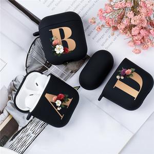 Carino floreale dell'oro iniziale della lettera di alfabeto Aria baccelli di caso per Airpod 2 custodie in silicone Bluetooth senza fili del trasduttore coperchio nero opaco