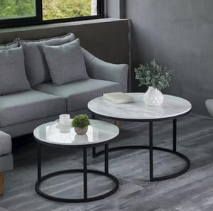 Luxo italiano popular moderno 100% mármore redondo mesa de café mesa para sala de estar 2 em 1 simples mesa de chá de ferro combinação