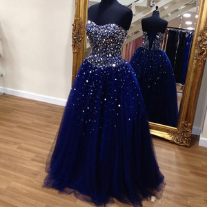Crystal Beaded Sweetheart Tulle Ball Gowns Quinceanera Dresses 2021 Navy Blue Corset Back Crystals Plus Size Prom Evening Gowns Plus Size