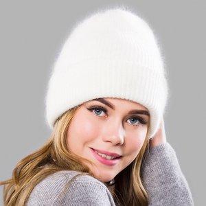 Las mujeres del invierno de piel de conejo Sombreros Gorros Calentar Caps piel larga Skullies Gorros femeninas ancha Cuff Style joven Hat para las mujeres 201027