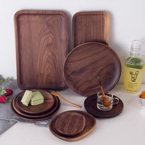 Rectangle Black Walnut Wood Pan Plate Fruit Dishes Saucer Tea Tray Dessert Dinner Bread Pizza Wood Plate Tea tray